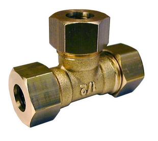 Té laiton brut égal à joint mixte gripp diam.20x27mm pour tube cuivre diam.16mm sous coque de 1 pièce - Gedimat.fr