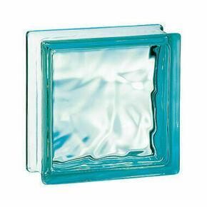 Brique de verre 198 ép.8cm dim.19x19cm nuagée turquoise - Gedimat.fr