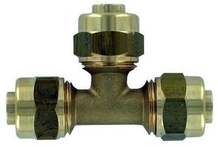 Té laiton égal à compression filetage diam.15x21mm pour tube polyéthylène réticulé diam.16mm sous coque de 1 pièce - Gedimat.fr