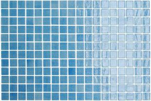 Emaux de verre de 2,5x2,5cm pour mur et piscine NIEVE sur trame de 31,1x46,7cm coloris azul celeste - Gedimat.fr