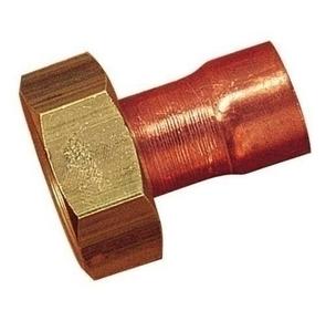 Raccord 2 pièces droit cuivre écrou laiton brut à emboiture 359GCI femelle à visser diam.20x27 mm pour tube cuivre diam.17mm en vrac 1 pièce - Gedimat.fr