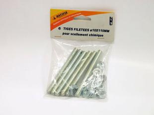Tiges filet es pour scellement chimique 08x070mm sachet de for Scellement chimique avec tamis