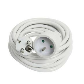 Rallonge prolongateur électrique mâle femelle 2 pôles + terre 16A avec cordon d'alimentation rond coloris blanc câble H05VVF 3G1,5mm² long.5m sous film de 1 pièce - Gedimat.fr