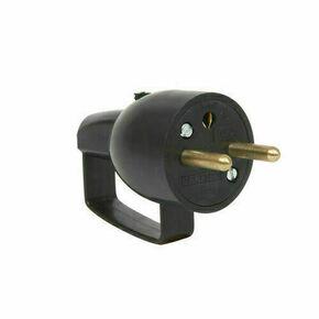 Fiche électrique à anneau mâle 2P+T 16A coloris noir - Gedimat.fr