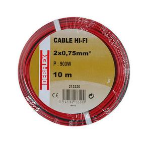 Câble HI-FI 2x0,75mm² 10m rouge/noir - Gedimat.fr