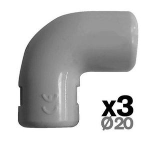 Coude pour tube IRL diam.20mm coloris gris en sachet de 3 pièces - Gedimat.fr