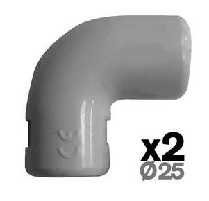 Coude pour tube IRL diam.25mm coloris gris en sachet de 3 pièces - Gedimat.fr