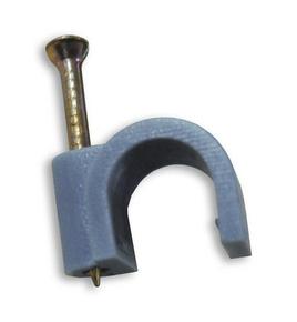 Attache cavalier plastique à clouer coloris gris pour câble rond diam.6mm en sachet de 20 pièces - Gedimat.fr