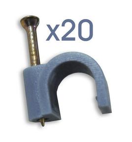 Attache cavalier plastique à clouer coloris gris pour câble rond diam.9mm en sachet de 20 pièces - Gedimat.fr