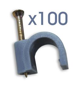 Attache cavalier plastique à clouer coloris gris pour câble rond diam.9mm en sachet de 100 pièces - Gedimat.fr