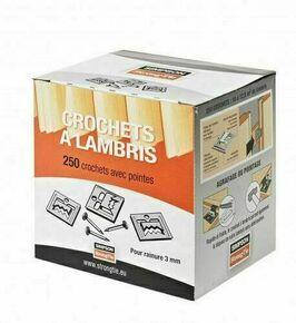 Crochet pour lambris bois R3 + pointes - boîte de 250 pièces - Gedimat.fr
