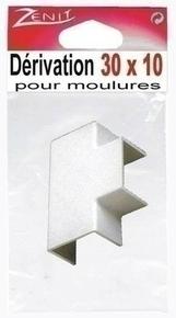 Té de dérivation pour moulure larg.30mm haut.10mm coloris blanc en sachet de 1 pièce - Gedimat.fr