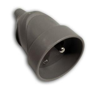 Prolongateur électrique plastique femelle 2 pôles + terre 6A coloris gris - Gedimat.fr