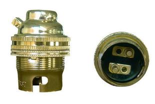 Douille électrique acier laitonné double bague avec borne de terre culot à baïonnette B22 - Gedimat.fr