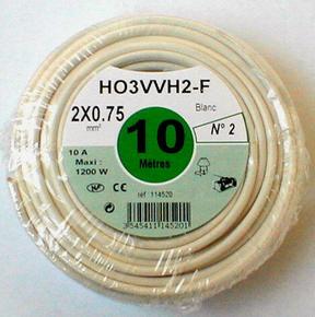 Câble électrique méplat H03VHH2F diam.2x0,75mm² coloris blanc long.10m - Gedimat.fr