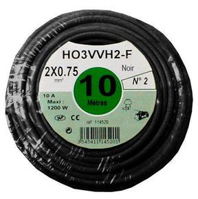 Câble électrique méplat H03VHH2F diam.2x0,75mm² coloris noir long.10m - Gedimat.fr