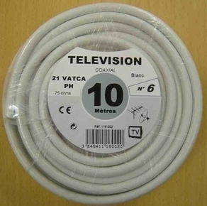 Câble coaxial pour antenne télévision type 21PATCA diam.6,8mm coloris blanc long.10m - Gedimat.fr