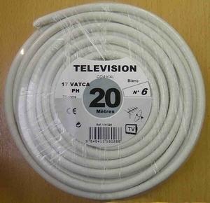 Câble coaxial pour antenne télévision type 17PATCA diam.6,8mm coloris blanc long.20m - Gedimat.fr
