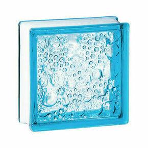 Brique de verre 198 ép.8cm dim.19x19cm bullée bleu azur - Gedimat.fr