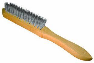 Brosse métallique manuelle à manche à bois 295x35 inox 4 rangs boites - Gedimat.fr