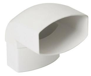 Coude pour tube de descente de gouttière NICOLL OVATION 28 CN8GTB section 90x56mm mâle femelle angle 87°30 coloris blanc - Gedimat.fr