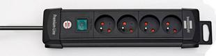 Prolongateur multiprises PREMIUM-PLUS 4 prises avec câble 1,8m HO5VV-F 3G1,5 noir - Gedimat.fr