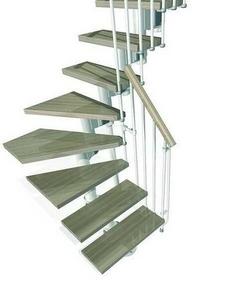 Escalier 1 4 tournant kit kompact acier bois haut 2 25 3 03m blanc h tre Kit de renovation escalier