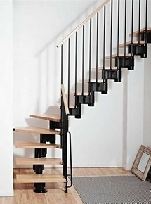 escalier 1 4 tournant kit kompact acier bois haut 2 25 3 03m noir h tre. Black Bedroom Furniture Sets. Home Design Ideas