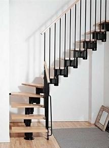 escalier 1 4 tournant kit kompact acier bois haut 2 25 3 03m noir h tre. Black Bedroom Furniture Sets. Home Design Ideas