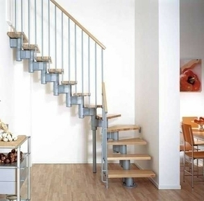 escalier 1 4 tournant kit kompact acier bois haut 2 25 3 03m gris h tre. Black Bedroom Furniture Sets. Home Design Ideas
