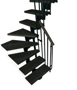 escalier 1 4 tournant kit kompact acier bois haut 2 25 3 03m noir noyer. Black Bedroom Furniture Sets. Home Design Ideas