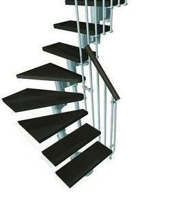escalier 1 4 tournant kit kompact acier bois haut 2 25 3 03m gris noyer. Black Bedroom Furniture Sets. Home Design Ideas