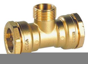 Raccord en Té laiton pour tuyau polyéthylène fileté mâle diam.25mm 20X27 taraudé femelle 15X21 - Gedimat.fr