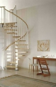 escalier h lico dal kit klan acier bois diam 1 20m haut 2 53 3 06m finition blanc bois clair. Black Bedroom Furniture Sets. Home Design Ideas