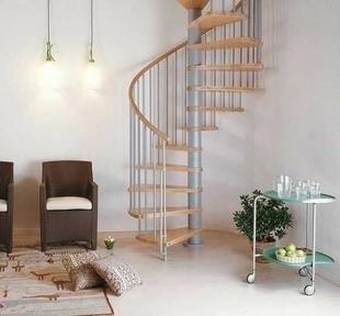 Escalier hélicoïdal kit KLAN acier/bois diam.1,40m haut.2,53/3,06m finition gris/bois clair - Gedimat.fr