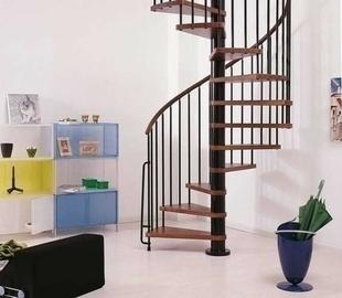 Escalier hélicoïdal kit KLAN acier/bois diam.1,40m haut.2,53/3,06m finition noir/bois foncé - Gedimat.fr