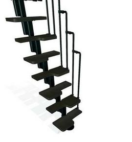 Escalier droit KARINA en acier plastifié noir haut.2,28/2,82m marches en bois (hêtre) foncé finition verni - Gedimat.fr