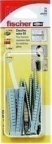 Cheville à expansion nylon pour matériaux pleins SX diam.8mm long.65mm avec vis à bois diam.6mm long.80mm 6 pièces - Gedimat.fr