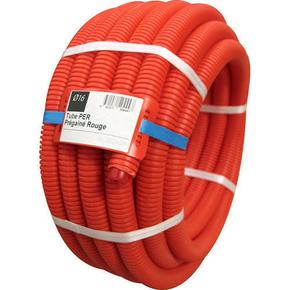 Tuyau PER polyéthylène réticulé prégainé coloris rouge diam.16mm en couronne de 50m - Gedimat.fr