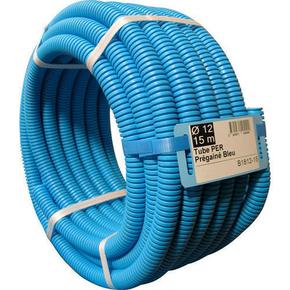 Tuyau PER polyéthylène réticulé prégainé coloris bleu diam.20mm en couronne de 15m - Gedimat.fr