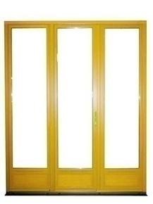 Porte-fenêtre bois exotique lamellé collé sans aboutage isolation totale 120mm 3 vantaux vitrage transparent haut.2,15m larg.1,80m - Gedimat.fr