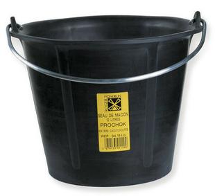 Seau de maçon caoutchouc PROCHOCK anse 6,4mm 12L noir - Gedimat.fr