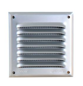 Grille aluminium NICOLL type persienne avec moustiquaire carrée 200x200mm coloris gris - Gedimat.fr
