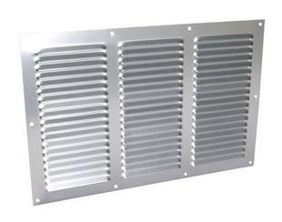 Grille aluminium NICOLL type persienne rectangulaire horizontale avec moustiquaire haut.200mm larg.300mm coloris anodisé gris - Gedimat.fr