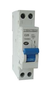 Disjoncteur électrique modulaire ZENITECH unipolaire + neutre 220V intensité 25A - Gedimat.fr