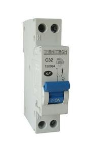Disjoncteur électrique modulaire ZENITECH unipolaire + neutre 220V intensité 32A - Gedimat.fr