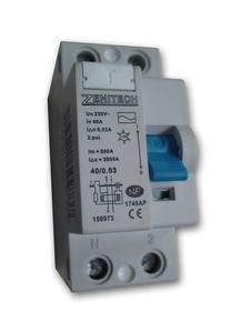 Interrupteur électrique différentiel bipolaire ZENITECH type AC intensité 40A 30mA. - Gedimat.fr