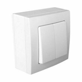 Interrupteur ou va et vient double série BEL'VUE pour pose en saillie intensité 10A coloris blanc - Gedimat.fr