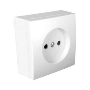 Prise de courant simple série BEL'VUE pour pose en saillie 2 pôles 16A coloris blanc - Gedimat.fr