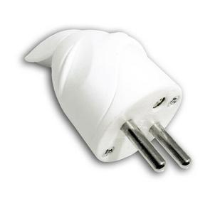 Fiche de branchement électrique plastique mâle 2 pôles + terre 16A sortie coudée coloris blanc - Gedimat.fr